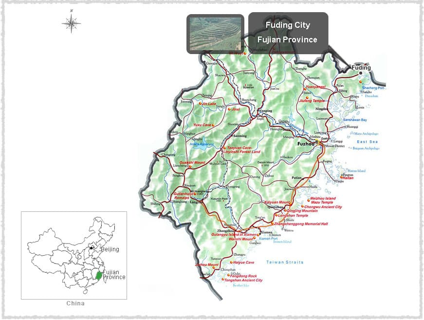 Map of Fuding, Fujian
