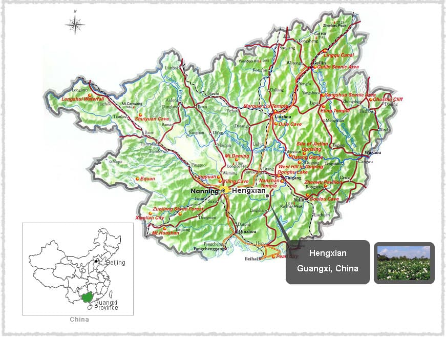 Map of Hengxian, Guangxi