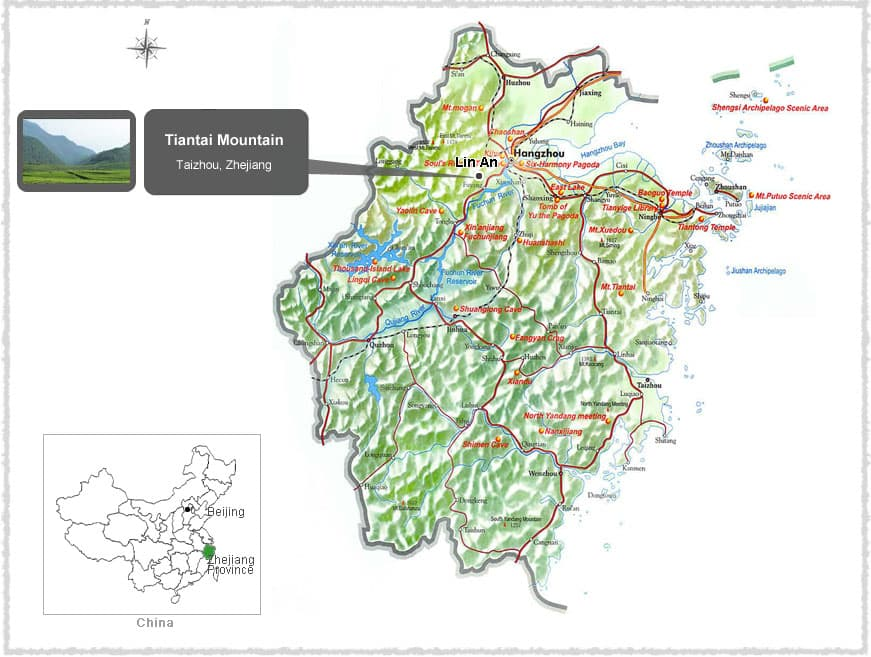 Map of Tiantai Mountain