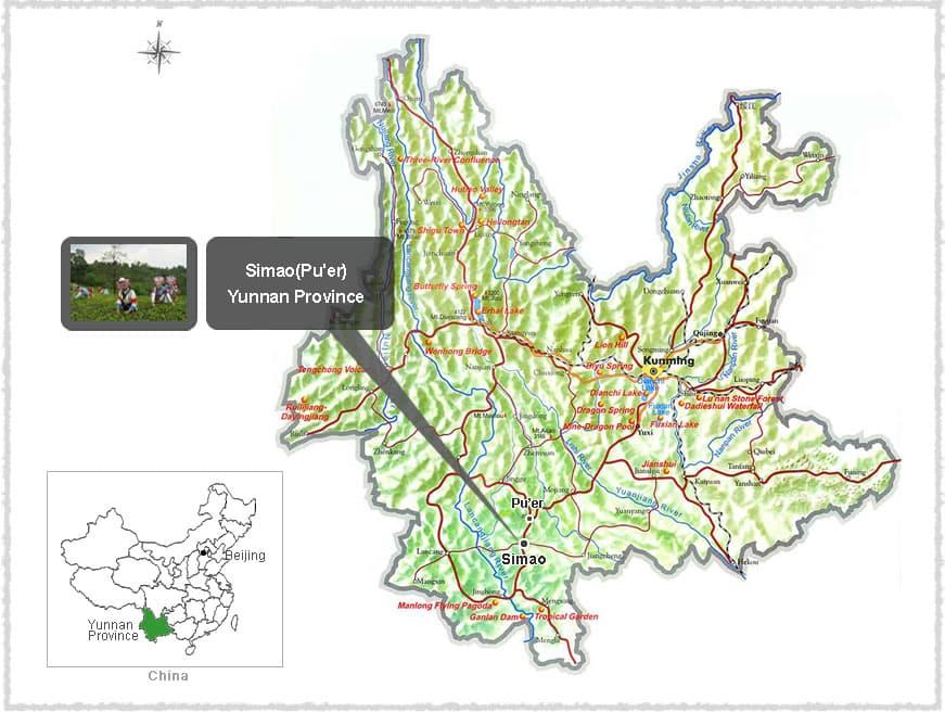 Map of Simao (Pu'er) in Yunnan Province